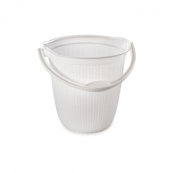 Balde de Plástico 8 Litros com Alça Trama Branco - Ref.008650 - PLASÚTIL