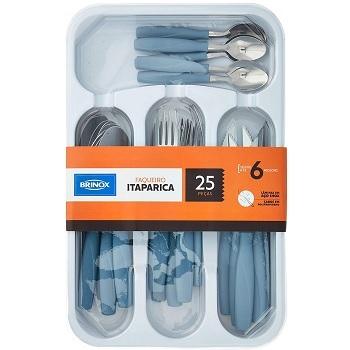 Faqueiro com 25 Peças Itaparica Azul Fog - Ref.6000/726 - BRINOX