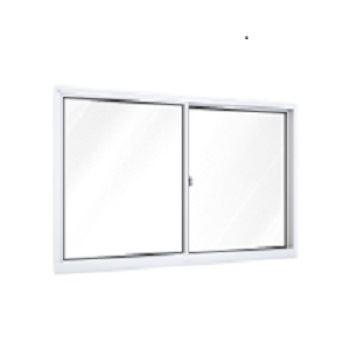 Janela de Correr de Alumínio 2 Folhas Vidro Liso 100x100cm Branco - Ref.A390.0 - RIOBRAS