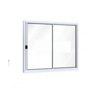 Janela Alumínio 100x150 2 Folhas Moveis Grade Vidro Liso Branco Ullian - Ref .A396.0 - RIOBRAS
