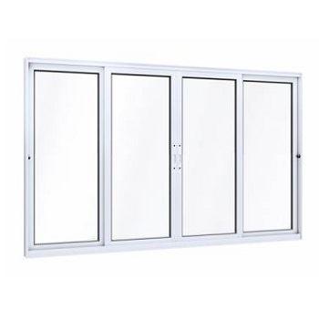 Janela Alumínio 4 Folhas 2 Fixas Vidro Liso 100x150 Branca - Ref.9351.0 - LUCASA