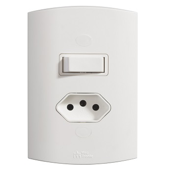 Interruptor 4x2 Volts 1 Tecla Simples+Tomada 2P+T 10A Branco - Ref.39727 - MECTRONIC