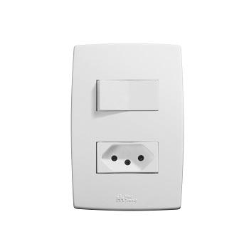 Interruptor Plus 4x2 1 Tecla Simples Com Tomada 2P+T 10A Branco - Ref.39695 - MECTRONIC