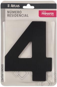 Número Aço 4 Residencial Adesivo Preto - Ref.PR3000/4 - PRIMAFER