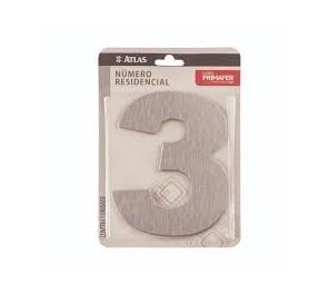 Número Aço 3 Residencial Adesivo Escovado - Ref.PR3001/3 - PRIMAFER
