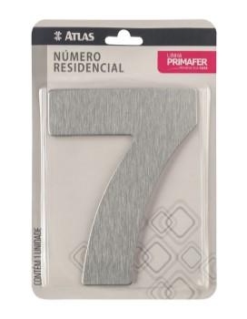 Número Aço 7 Residencial Adesivo Escovado - Ref.PR3001/7 - PRIMAFER