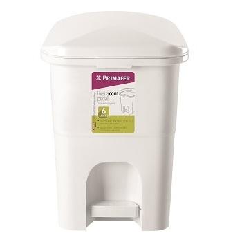 Lixeira Plástica 6L Retangular Branca - Ref.PR1016-2 - PRIMAFER
