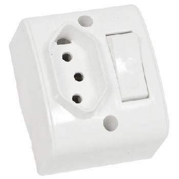 Interruptor Sobrepor 1 Tecla Paralelo +Tomada 2P+T 10A Retangular Branco - Ref. 39196 - Mectronic
