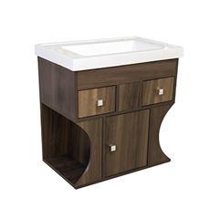 Gabinete para Banheiro MDF Laqueado 60x59cm com Cuba 1 Porta 2 Gavetas Modern Ipê - Ref.24734-110011 - SICMOL