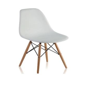 Cadeira em Polipropileno Pé de Madeira Eames Branca - Ref.F901000 - GARDENLIFE
