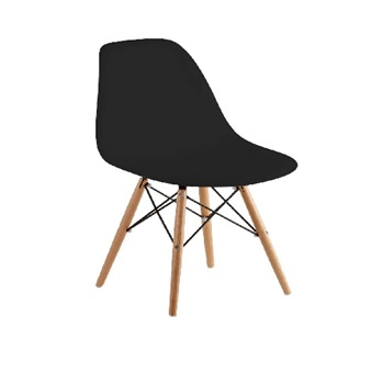 Cadeira em Polipropileno Pé de Madeira Eames Preto - Ref.F901001 - GARDENLIFE