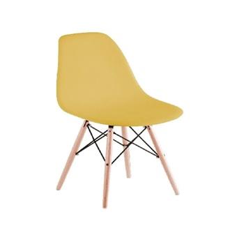 Cadeira em Polipropileno Pé de Madeira Eames Amarela - Ref.F904005 - GARDENLIFE