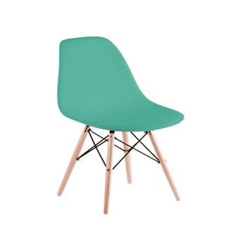 Cadeira em Polipropileno Pé de Madeira Eames Verde Tifany - Ref.F901015 - GARDENLIFE