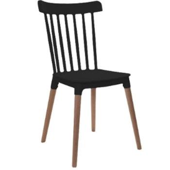 Cadeira com Pés de Madeira Windsor Preta - Ref.F908001 - GARDENLIFE