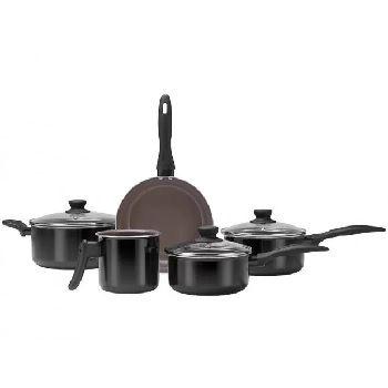 Kit de Panela em Alumínio com 5 Peças Ceramic Life Easy Preto - Ref.4789/108 - BRINOX