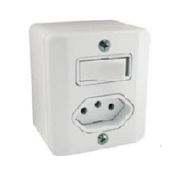 Interruptor Sobrepor 1 Tecla Simples+Tomada 2P+T 10A Milleniun Branco - Ref.39114  MECTRONIC