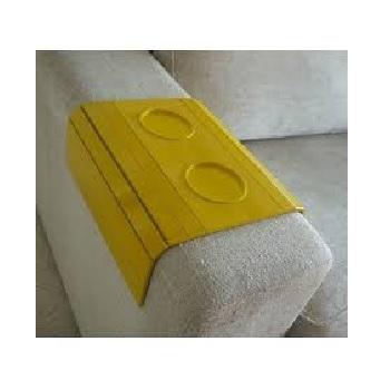 Esteira para Sofá em MDF Laqueada com Porta Copos Amarela - Ref.TFP6216 - TOP FLEX