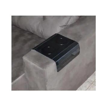 Esteira para Sofá em MDF Laqueada com Porta Copos Preto - Ref.TFP6220 - TOP FLEX
