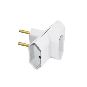 Plug T 2P 3 Saidas 2p+T 10A Branco - Ref.39194 - MECTRONIC