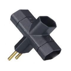 Plug T com 3 Saída 2P 10A Preto - Ref.39142 -  MECTRONIC