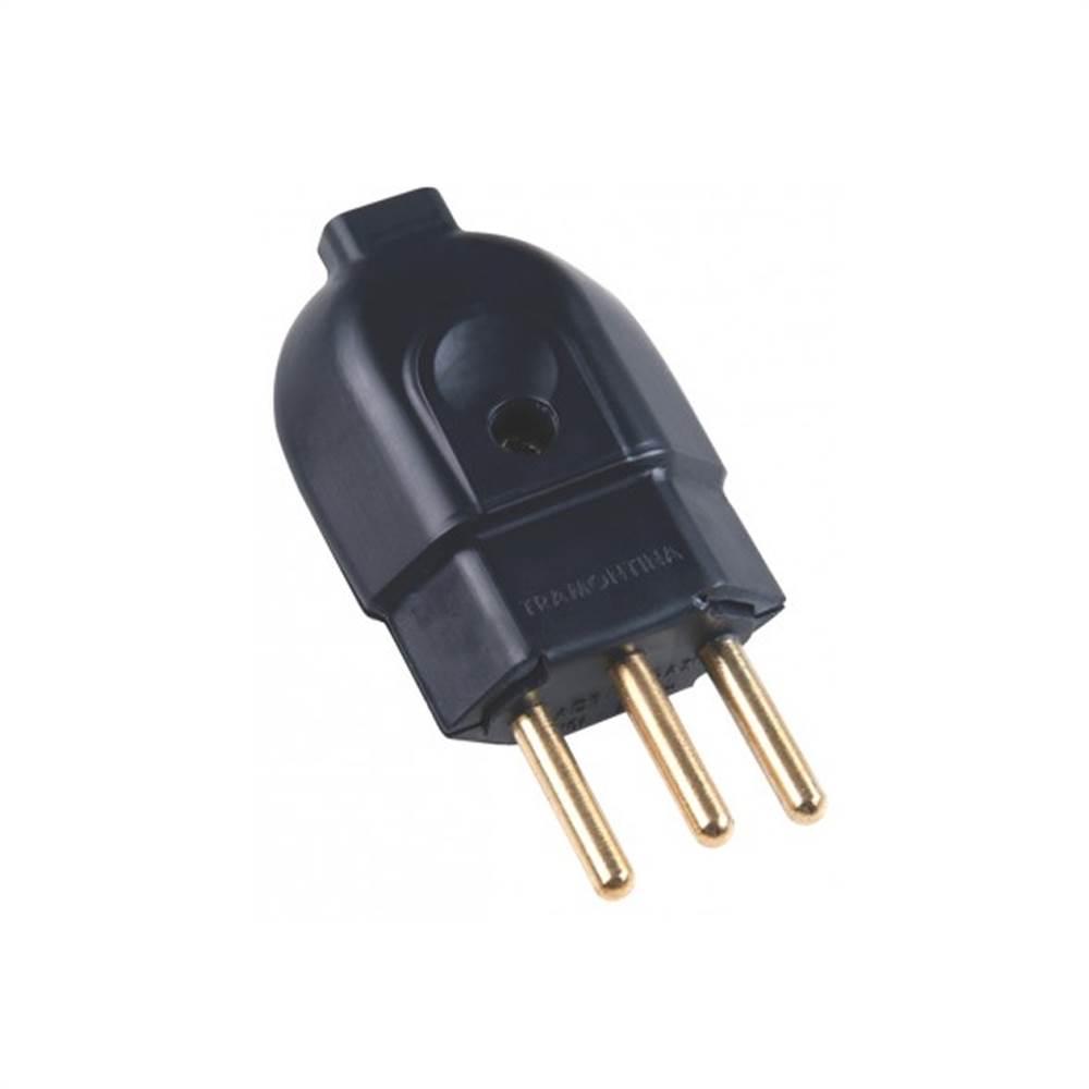 Plug Macho 2P+T 10A Retangular Preto - Ref.39053 -  MECTRONIC