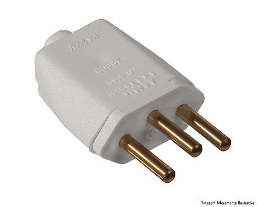 Plug Macho 2P+T Retangular 20A Branco - Ref.39186 - MECTRONIC