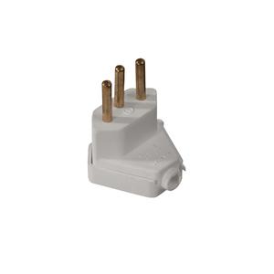 Plug Macho 2P+T 10A Triangular Branco - Ref.39187 - MECTRONIC