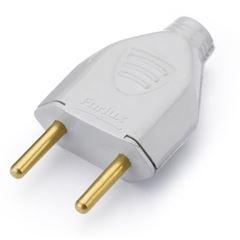 Plug Macho 2P 10A 180g Branco - Ref.39214 - MECTRONIC