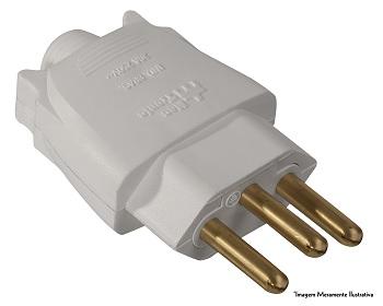 Plug Macho 2P+T 10A 180g Branco - Ref.39218 - MECTRONIC