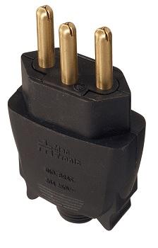 Plug Macho 2P+T 10A 180g Preto - Ref.39220 - MECTRONIC