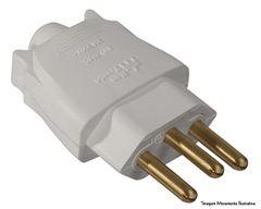 Plug Macho 2P+T 20A 180g Branco - Ref.39224 - MECTRONIC