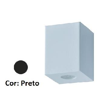 Arandela Alumínio Baliza Quadrada Visor Redondo Preto - Ref. 1477 PT - ATTENA