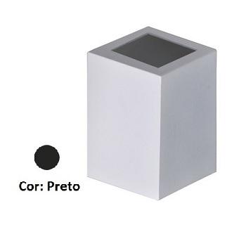 Arandela Alumínio Baliza 1 Visor Quadrado Preto - Ref. 1474 PT - ATTENA