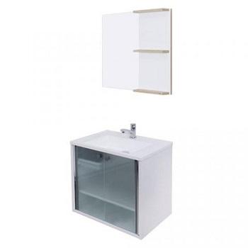 Gabinete de Banheiro MDF 60x50 com Espelho Slim Branco - Ref.910-5 - CRISMETAL
