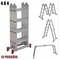 Escada Alumínio 3x4 Degraus Articulada 13 Posições - Ref.ESC0293 - BOTAFOGO