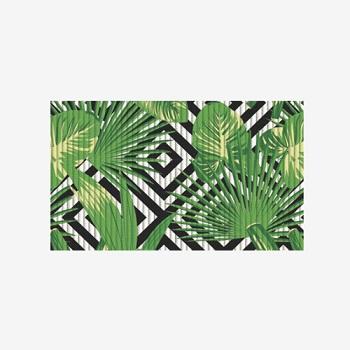 Tapete PVC 43x15m Tropical Jardim Abstrato Verde - Ref.0201JDABS - KAPAZI