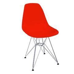 Cadeira em Polipropileno Pé de Cromo Eames Vermelha - Ref.F906004 - GARDENLIFE