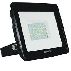Refletor LED Ultra Slim 30W Bivolt Branco Frio 6500K Preto - Ref. DI70741 - DILUX