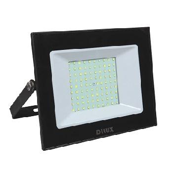 Refletor LED Ultra Slim 100W Bivolt Branco Frio 6500K Preto - Ref. DI70765 - DILUX