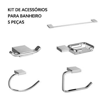 Kit Acessórios de Banheiro de Zinco 5 Peças Cromado - Ref.DMR71809 - Dimar