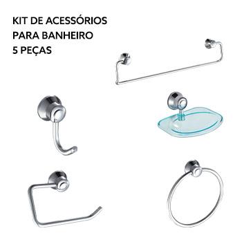 Kit de Acessórios para Banheiro em Alumínio e ABS 5 Peças Cromado - Ref.DMR71816 - Dimar