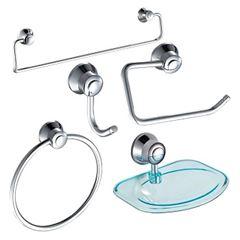 Kit Acessórios para Banheiro em Alumínio e ABS 5 Peças Cromado - Ref.DMR71816 - Dimar