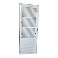 Porta de Abrir de Alumínio com Postigo Vidro Liso Lado Direito 210x80cm Sólida Branco - Ref.47880 - MGM