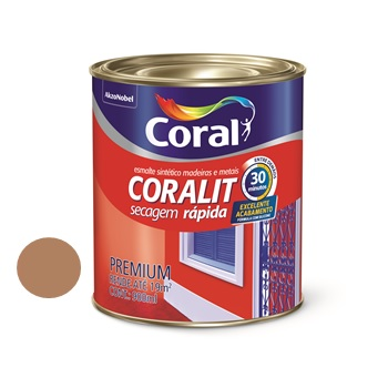 Tinta Esmalte Brilhante Coralit Secagem Rápida Marrom Conhaque 900ml - Ref. 5202980 - CORAL