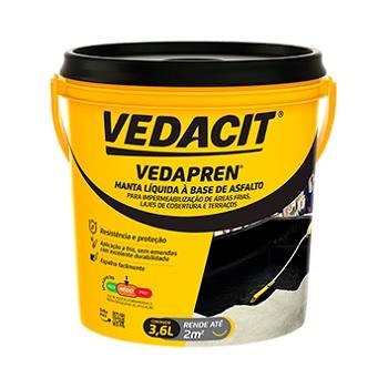 Impermeabilizante Acrílico 3,6 Litros Vedapren Elasto Preto -  Ref.121855 - VEDACIT