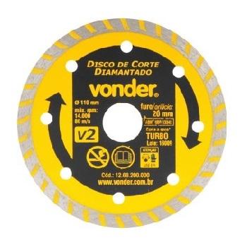 Disco de Corte Diamantado 110mm V2 com Furo de 20mm - Ref.1268200000 - VONDER