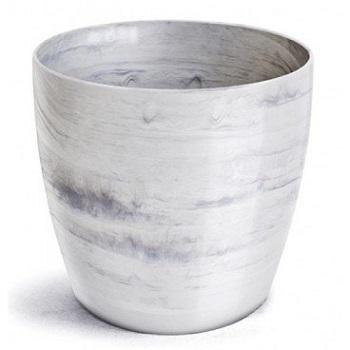 Cachepô Plástico Redondo Elegance nº 1 Branco Carraral - Ref.610170130 - NUTRIPLAST