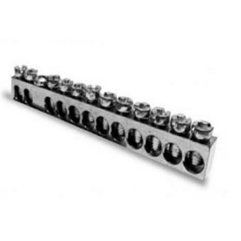 Barramento de Alumínio Neutro e Terra com 12 Ligações 16mm Saco com 2 Peças - Ref.989554 - CEMAR