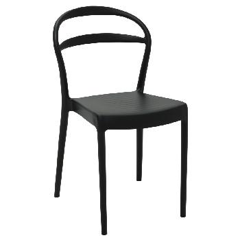 Cadeira em Polipropileno com Ecosto Vazado Eco Sissi  Preto - Ref.92047/409 - TRAMONTINA
