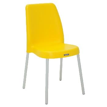 Cadeira em Polipropileno com Pernas Anodizadas Vanda Amarelo - Ref.92053/900 - TRAMONTINA